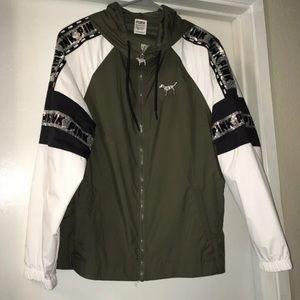VS PINK Windbreaker Jacket Bling Army Green